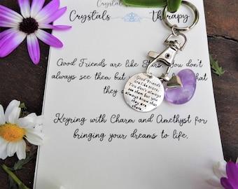 Friends Charm Keyring with Amethyst Charm Keyring for Friends, Personalised Keyring for Friends