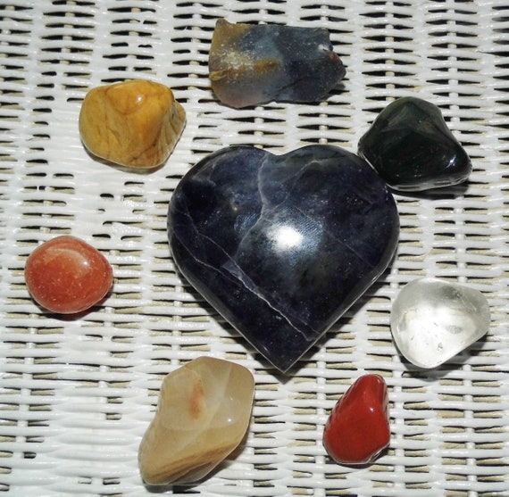 General Healing Crystals with Large Labradorite Heart, Crystals for Healing, Healing Gifts, Therapy  Crystals
