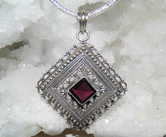 Garnet Filigree Necklace,  Large Garnet Pendant, Faceted Garnet Pendant,  Sterling Silver Necklace