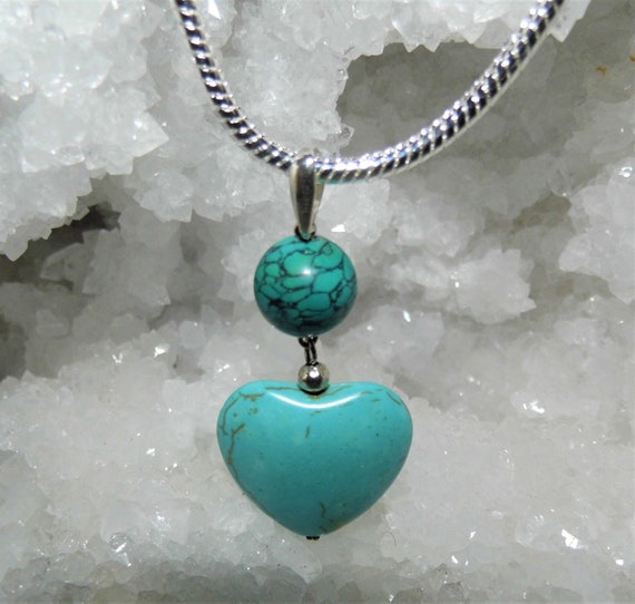 Turquoise Puff Heart Necklace, Turquoise Ball and Heart Pendant, Sterling Silver Necklace, Turquoise Jewellery