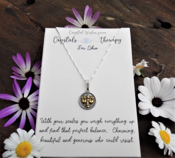 Libra Charm Necklace, Zodiac  Charm Pendant, 925 Silver Necklace, Double Sided Libra Pendant, Libra Gift