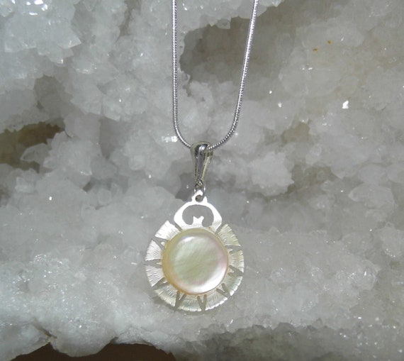 Pearl Pendant Necklace,   Pearl Button,  Mother of Pearl Pendant , Sterling Silver Necklace