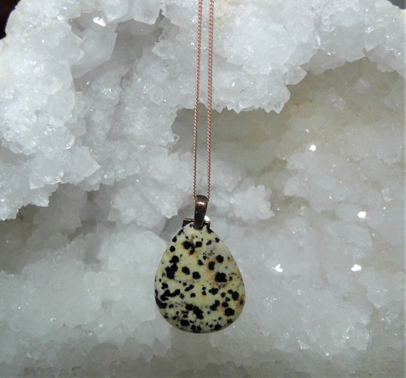 Dalmatian Jasper Necklace,  Teardrop Jasper Pendant, Gemstone Necklace, Dalmatian Jasper Jewellery