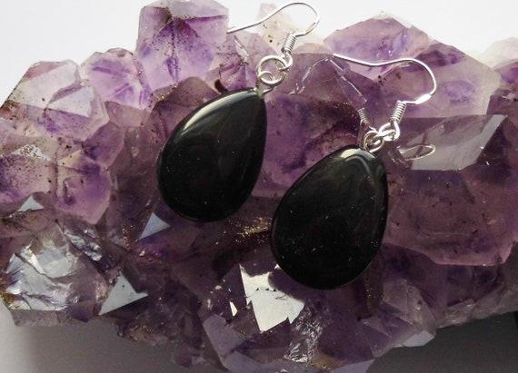 Black Obsidian Earrings,  Teardrop Earrings, Gemstone Earrings, Sterling Silver Earrings,  Crystals for Healing