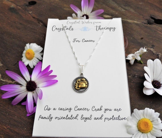 Cancer Charm Necklace, Zodiac  Charm Pendant, 925 Silver Necklace, Double Sided Cancer Pendant, Cancer Gift