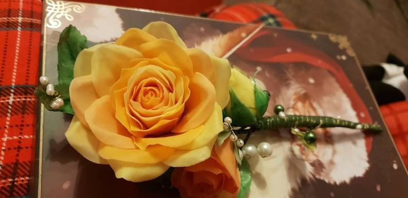 Birthdayanniversarymemorialgravesideweddingchristening Shades of orange three porcelain rose stem adorned with pearls