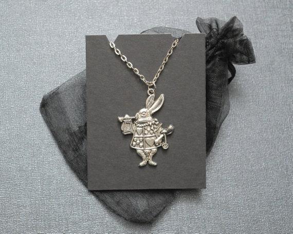 Red queen rabbit necklace alice in wonderland