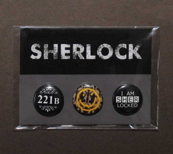 Bbc Sherlock Badges 221b Baker Street Bored Smiley Wallpaper Pin I Am Sherlocked Cosplay Prop Replica 1 Pack Of 3 Buttons