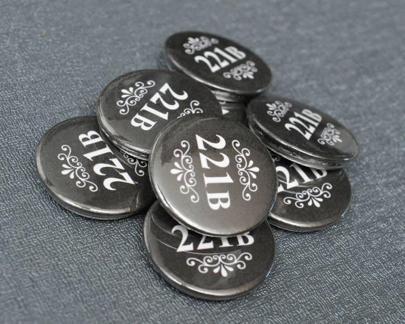 BBC Sherlock 221B Baker Street pin  cosplay button badge  image 0