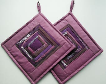 Purple Potholders Quilted Pot Holders Quilted Potholders Fabric  Potholders