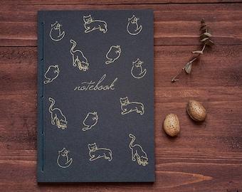 Cat or carnet, din de journal chat A5, imprimé à la main