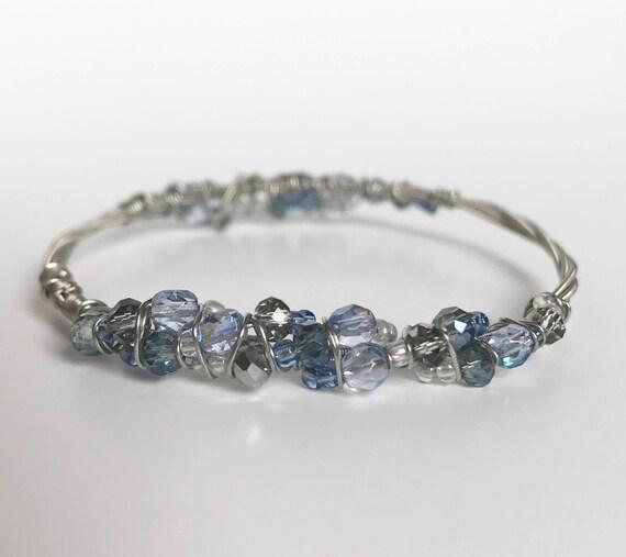 silver guitar string bracelet blue and grey silver beaded etsy. Black Bedroom Furniture Sets. Home Design Ideas