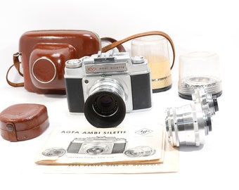 Agfa Ambi Silette 35mm Film Camera+ 3 Lenses, Case and Filters- Clean and Film Tested