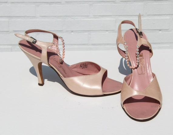Vtg 50s Pearly Pink Shoes with Rhinestone Straps