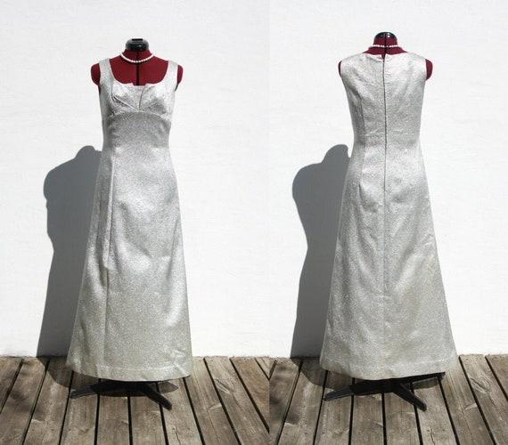 Vtg 60s Long Silver Lamé Dress