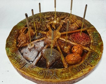 Wheel of the year Incense stick holder, Pagan, wiccan, beltaine, imbolc, Lammas, Ostara, mabon
