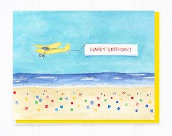 Beach Birthday Card Etsy