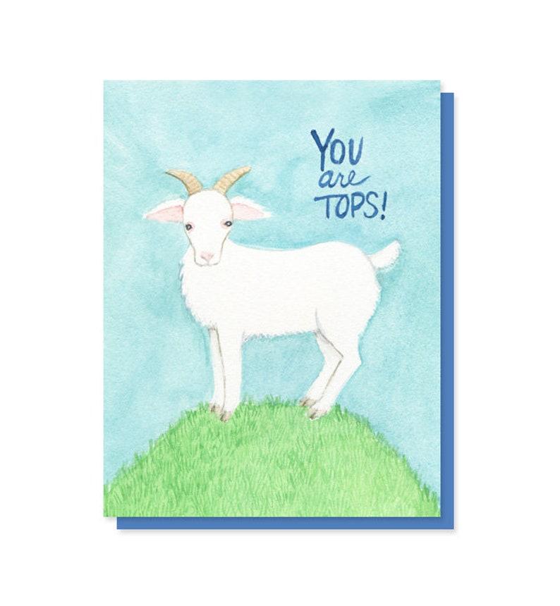 Appreciation You Are Tops Goat Thank You Congratulations Card