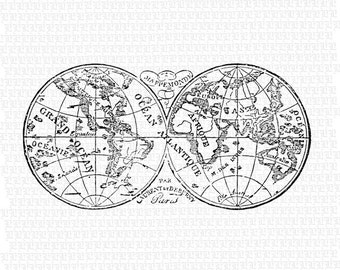 French World Map Etsy - Old world map black and white