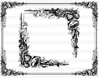 ornamental corner borders frames victorian style antique etsy