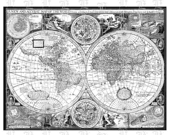 Graphic Map Etsy - Black and white vintage world map