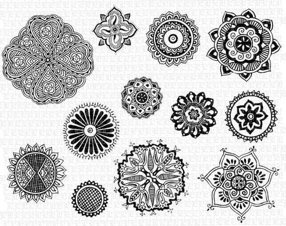 8e16cf29b 12 Vector EPS Henna Tattoo Floral Motifs Mandalas Digital | Etsy