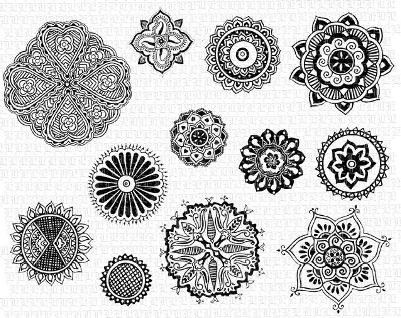 picture relating to Printable Henna Designs known as Printable Henna Tattoo Floral Motifs Mandalas 300dpi Significant Remedy Electronic Graphics Fast Obtain 1575
