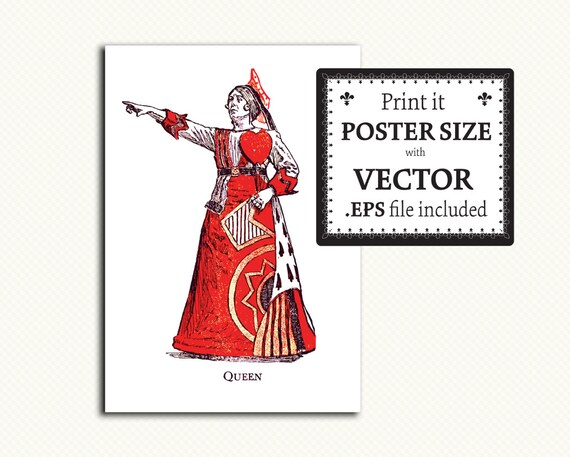 Para imprimir rojo Reina Clip arte antiguo Alice Wonderland