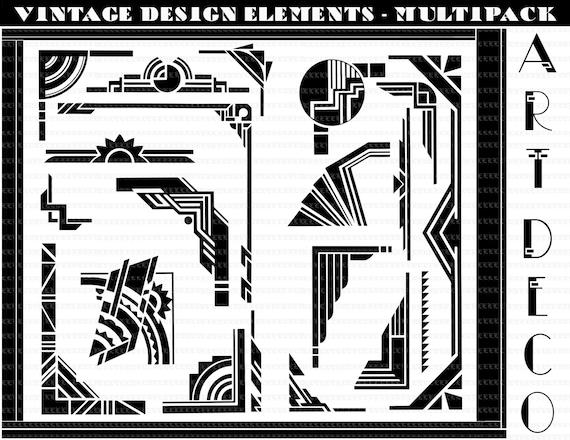 Vector Art Deco Borders Art Deco Design Elements Art Deco Eps Clip Art Instant Download 4005