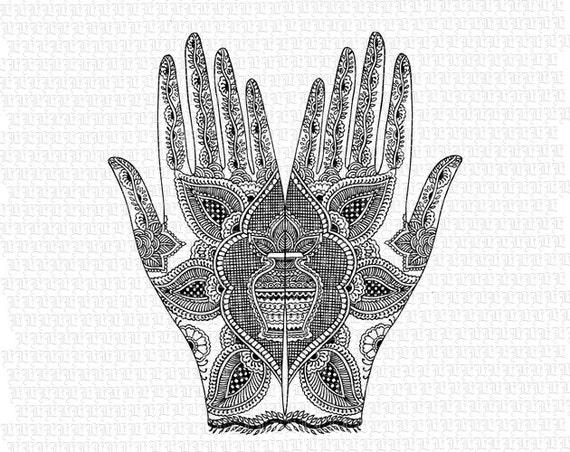 Hands Mehndi Hindu Henna Tattoo Design Pattern Antique Image Etsy