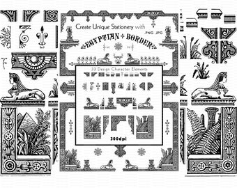 Create Ancient Egypt Theme Borders and Frames Decorative Clip Art Printable Egyptian Design Elements Digital Egypt Instant Download EB1
