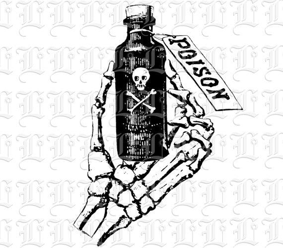 Skeleton Hand Holding Poison Bottle Symbol Vintage Clip