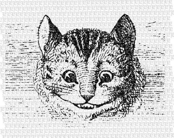 Sonrisa de gato de Cheshire retrato Alice Wonderland Vintage   Etsy