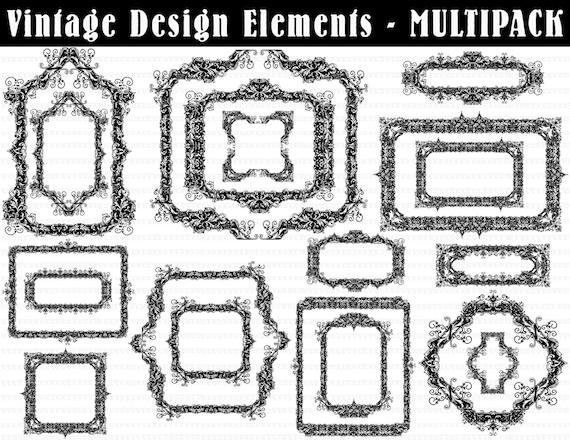 19 barroco victoriano marcos gráficos de impresión 300dpi HQ