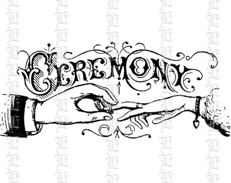 Wedding Ceremony Victorian Decorative Letter Heading Title Antique Vintage Clip Art High Quality Printable Instant Download 1304