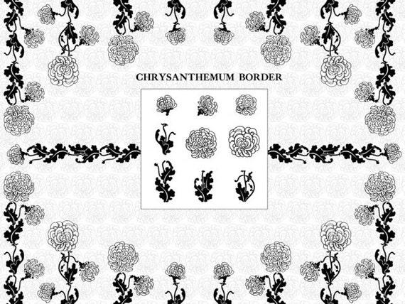 Digital Mums Floral Borders Digital Flower Borders Decorative Etsy Simple Decorative Designs For Borders