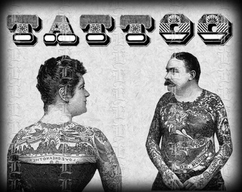 Pareja Tatuada Victoriano Hombre Mujer Tatuaje Firmar 6cs Etsy