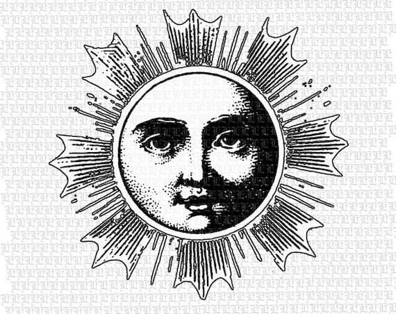 Sun And Moon Vintage Illustration Stock Vector ... |Vintage Sun Illustration