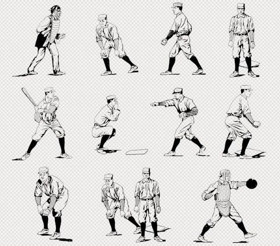 Deportes de béisbol jugadores ilustración Clip Art Clip Art para ...
