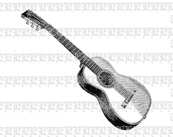 Ilustraciones Vintage guitarra acústica alta calidad hoja de | Etsy