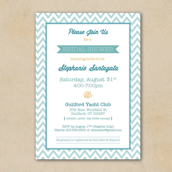 Nautical Bridal Shower Invitation Digital File Only Etsy