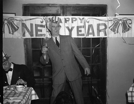 funny vintage black and white holiday photo; new year\u0027s eve,themed gift;  drunk man at party; weird funny wall art; custom printing