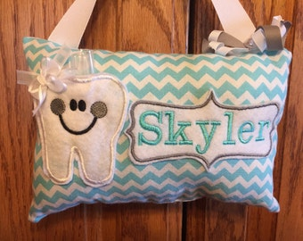 Robin egg blue personalized tooth fairy pillow