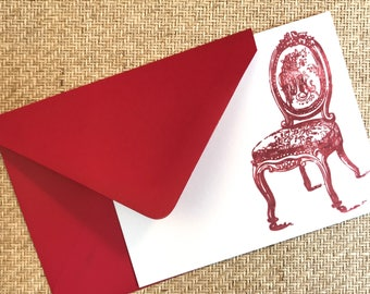 The French Antique Chair Flat Letterpress Notecards Set of 4 Cards With Envelopes