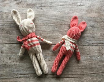 Crochet 100% cotton soft toys rabbits