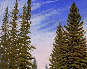Evergreens 'Communion' - original Landscape Painting - oil - trees - sky - Wyoming - impressionist - contemporary - wall art