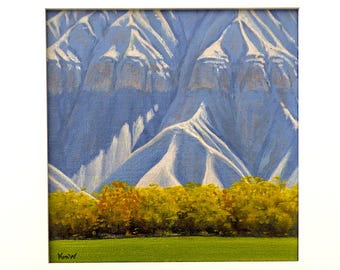 Utah 'Caineville Fields' - original landscape painting - desert painting - square - framed - oil - trees - mountains