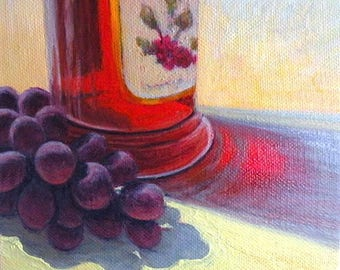 Kitchen art - 'Red Grapes' - original painting - oil - red - turquoise - still life - 6x6 - food - contemporary - square - small painting