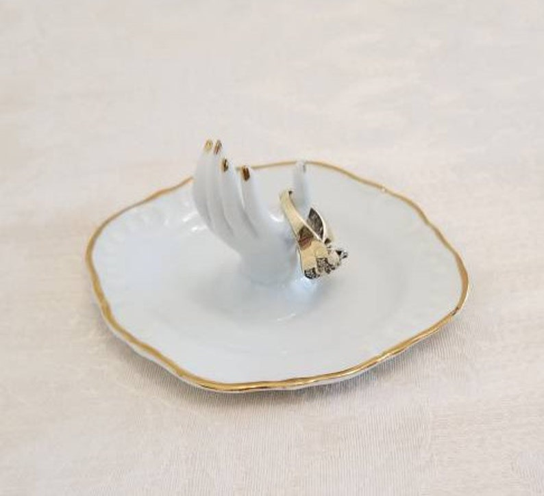 Porcelain Hand Jewelry Ring Holder Small White Ceramic Dish Gold Trim SIGNED