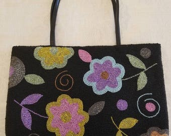 "Large Vintage Floral Seed Beaded Clutch Purse, Evening Bag 13.5"" x 9"""